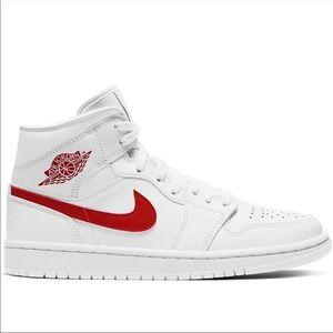 Air Jordan 1 Mid (BQ6472 106) White & Red, NEW